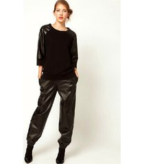 2017 classic pu relaxed waist women long pants fashion imitation leather pants