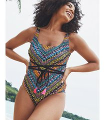 free spirit underwire belted tummy control one-piece swimsuit d-gg
