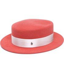 maison michel silk-ribboned wool-felt boater hat - orange