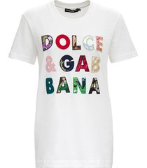 dolce & gabbana jersey t-shirt with patchwork lettering logo