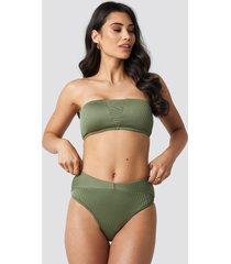 hannalicious x na-kd ribbed folded bikini pantie - green