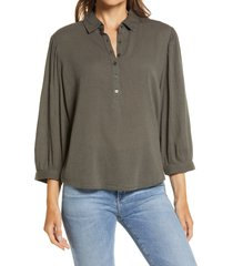 women's caslon button front gauze tunic top, size small - grey