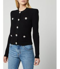 balmain women's buttoned pleated knit cardigan - black - fr 38/uk 10