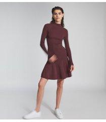 reiss clary - knitted ruffle hem dress in berry, womens, size xl