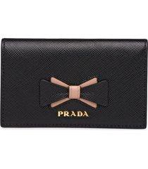 prada saffiano leather card holder with bow - black
