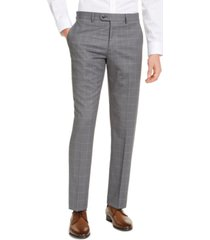 perry ellis men's portfolio slim-fit stretch gray windowpane suit pants