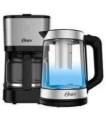kit chaleira elétrica oster tea e cafeteira inox compacta - 220v