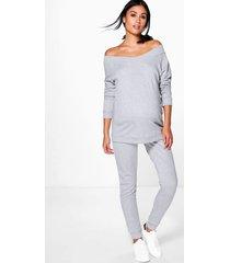 maternity bardot top & lounge jogger set, grey marl