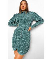 geplooide mini jurk met stippen en strik, green