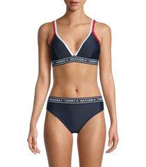 tommy hilfiger women's double-strap triangle logo bikini top - navy - size s