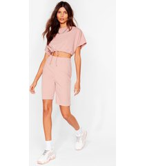 womens draw attention tee and biker shorts set - rose