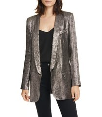 women's smythe long shawl collar metallic blazer, size 10 - metallic