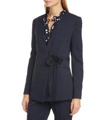 women's rebecca taylor zigzag jacquard wrap blazer, size 10 - blue