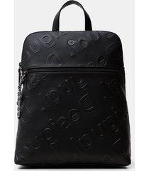 square backpack logo relief - black - u