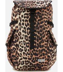 ganni women's tech fabric backpack - leopard