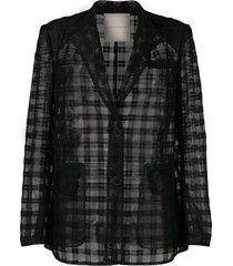 marco de vincenzo boxy tulle blazer - black