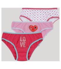 kit de 3 calcinhas infantis estampadas de corações multicor