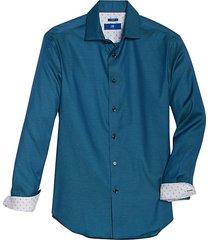 egara men's modern fit sport shirt teal woven check - size: medium