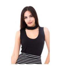 blusa moda vício regata gola alta com decote feminino