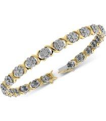 diamond cluster link bracelet (4 ct. t.w.) in 10k gold & white gold