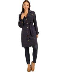 casaco trench coat, com bolsos e faixa - moderno e atemporal marinho