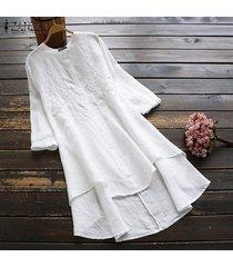 zanzea camisas bordadas para mujer vestido asimétrico alto bajo mini vestido tallas grandes -blanco