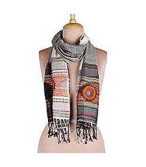 viscose scarf, 'creative blossoms' (india)