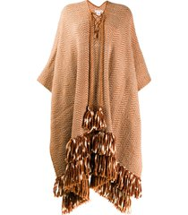ulla johnson oversized fit poncho - neutrals