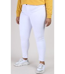 calça jeans feminina plus size sawary skinny cintura alta branca