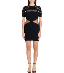 balmain sheer detail and buttoned stretch knit dress