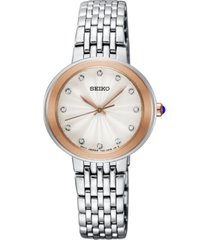 seiko women's crystal stainless steel bracelet watch 28.5mm, created for macy's