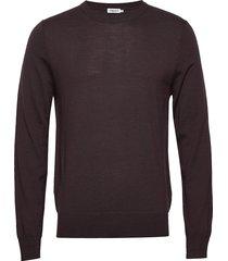 m. merino sweater gebreide trui met ronde kraag bruin filippa k