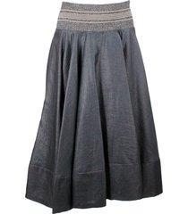 brunello cucinelli long linen skirt with lurex elastic waistband and side zip