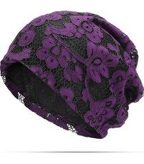 donna casual beanie bonnet in pizzo traspirabile in colore a tinta unita turbante cappello chemioterapico