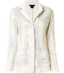 avant toi micro mat stitch blazer - white