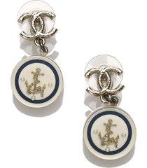 chanel cc anchor drop earrings white, blue, navy sz: