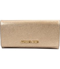 nwt michael kors pale gold metallic saffiano jet set large carryall wallet