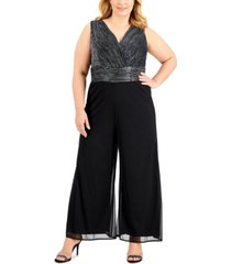 connected plus size metallic wide-leg cropped jumpsuit