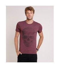 camiseta masculina slim caveira manga curta gola careca vinho