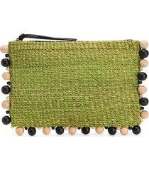 aranaz bead embellished clutch bag - green