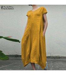 zanzea verano de las mujeres de la manga corta vestido de la playa de los vestidos ocasionales flojos kaftan -amarillo