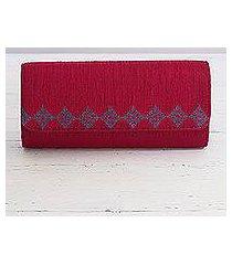 embroidered clutch handbag, 'ravishing ruby' (india)