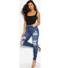 power stretch skinny jeans met superhoge taille, blauw