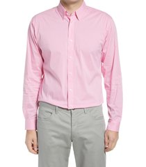 men's alton lane mason tailored fit check stretch button-up shirt, size xx-large - pink
