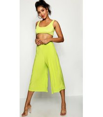 basic soft slinky wide leg culottes, citrus lime