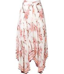 zimmermann orchid print pleated asymmetric skirt - white