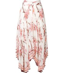 zimmermann orchid print pleated asymmetric skirt - white