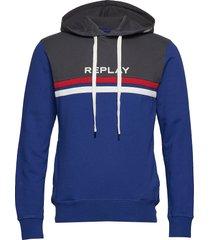 cotton fleece hoodie trui blauw replay