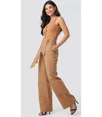 na-kd trend fold up wide leg pants - beige