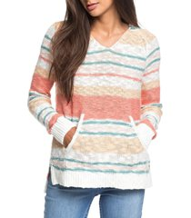 women's roxy airport vibes stripe hooded sweater